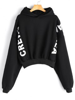 Batwing Letter Oversized Hoodie - Black