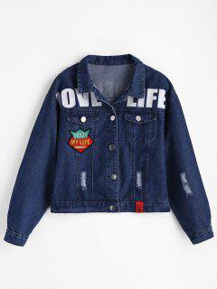 Patch Design Letter Ripped Denim Jacket - Blue M