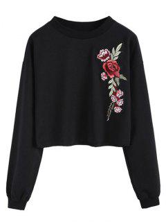 Crew Neck Flower Patchwork Sweatshirt - Black M