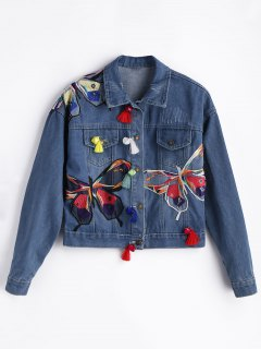 Flower Embroidered Ripped Jean Jacket - Blue S