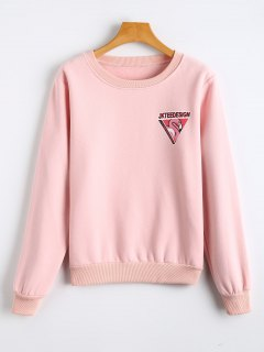 Fleece Bird Print Crew Neck Sweatshirt - Pink S