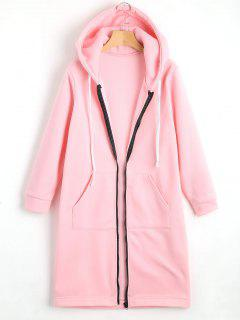 Zippered Longline Hoodie With Pockets - Pink S