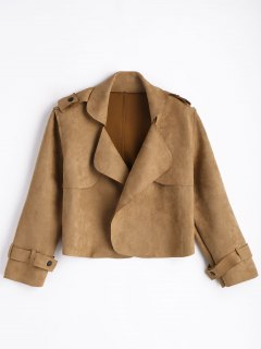Faux Suede Lapel Jacket - Brown S