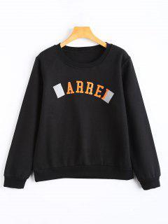 Fleece Arrel Graphic Crew Neck Sweatshirt - Black M