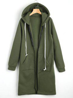 Zippered Longline Hoodie With Pockets - Army Green S