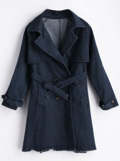 Frayed Hem Lapel Bridge Denim Coat - Blue L