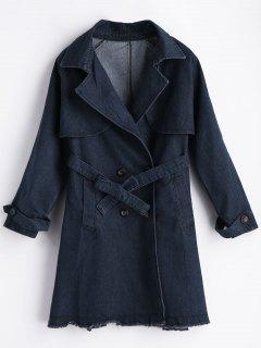 Manteau En Denim Bord Usé à Col Tailleur  - Bleu L