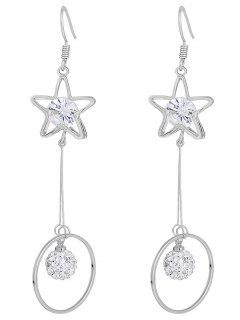 Rhinestone Hollow Star Hoop Fish Hook Earrings - Silver