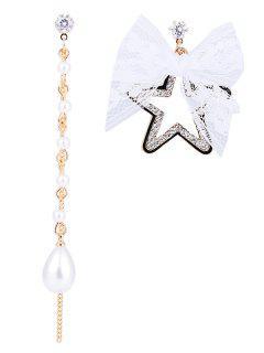 Rhinestone Star Lace Bowknot Asymmetrical Earrings - White