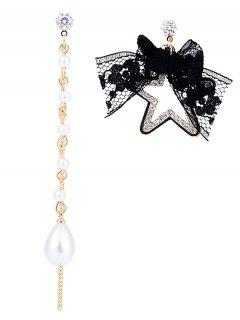 Rhinestone Star Lace Bowknot Asymmetrical Earrings - Black