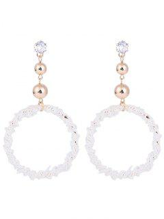 Wreath Shape Stud Hoop Earrings - White