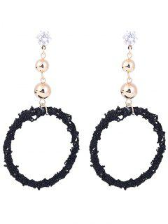 Wreath Shape Stud Hoop Earrings - Black