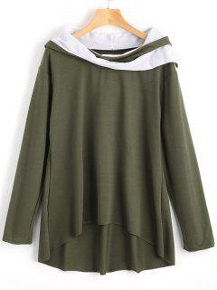 Contrast High Low Hoodie - Army Green L