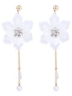 Rhinestone Lace Flower Stud Dop Earrings - White