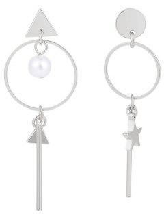 Bar Hoop Pendant Geometry Earrings - Silver