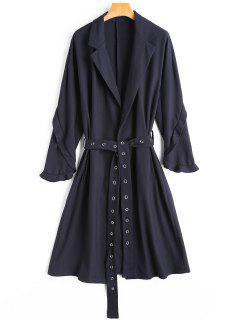 Studded Frilled Wrap Coat - Cadetblue S