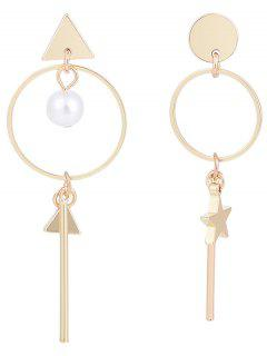 Bar Hoop Pendant Geometry Earrings - Golden