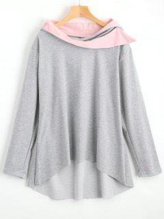 Contrast High Low Hoodie - Gray Xl