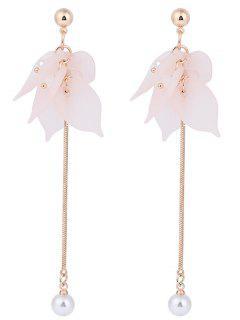 Leaf Pearl Pendant Stud Drop Earrings - Pink