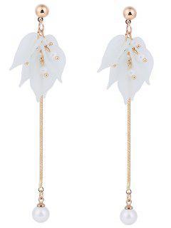 Leaf Pearl Pendant Stud Drop Earrings - Crystal Cream