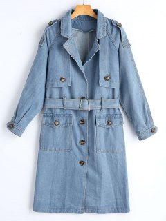 Belted Button Up Denim Trench Coat - Denim Blue S