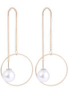 Pearl Hoop Pendant Long Earrings - Golden