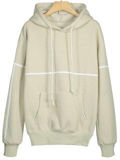 Front Pocket Striped Drawstring Hoodie - Beige S