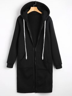 Zippered Longline Hoodie With Pockets - Black L