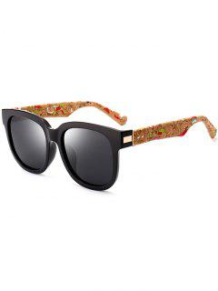 Marble Grain Legs Full Frame Mirror Sunglasses - Black