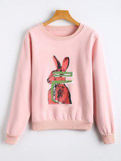 Rabbit Print Fleece Crew Neck Sweatshirt - Pink S
