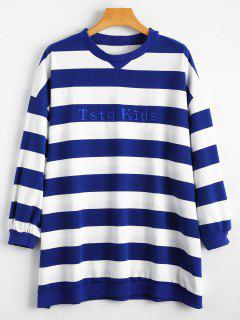 Striped Embroidered Oversized Sweatshirt - Blue And White