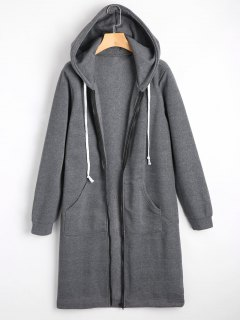 Zippered Longline Hoodie With Pockets - Deep Gray S