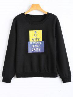 Graphic Fleece Crew Neck Sweatshirt - Black S