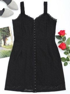 Front Full Closure Lace Babydoll Dress - Noir M