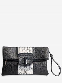 Print Color Block Clutch Bag - Black