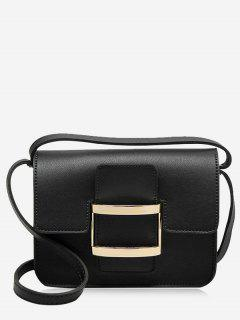 Metal Detail Buckle Strap Crossbody Bag - Black