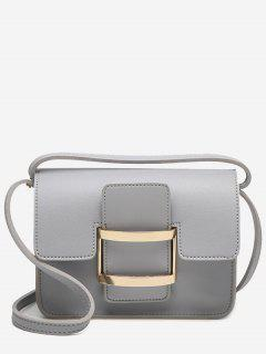 Metal Detail Buckle Strap Crossbody Bag - Gray