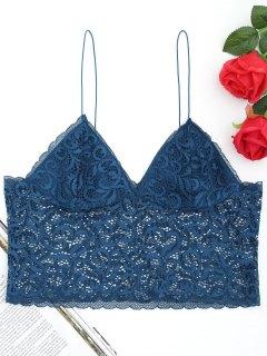 Longline Lace Cami Bralette - Peacock Blue
