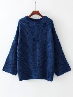 Oversized Scalloped Sheer Sweater - Purplish Blue