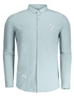Männer Hemd Mit Knopf Und Stickerei - Erbsengrün Xl