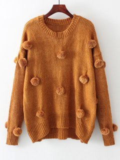 Oversized Balls Applique Sweater - Light Coffee S