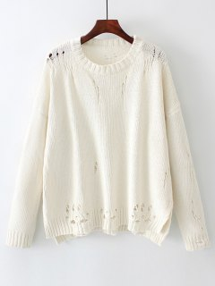Oversized Distressed Side Slit Sweater - White