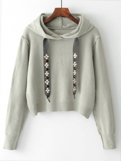 Diamanted Cords Hooded Cropped Sweater - Gray L