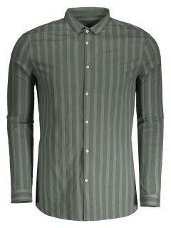 Männer Hemd Mit Knopf Und Streifen - Grün Xl