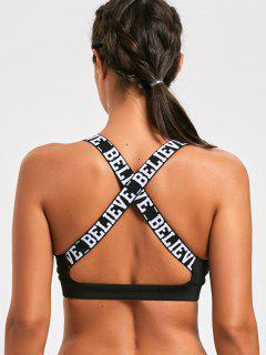 Letter Padded Criss Cross Yoga Bra - Black M