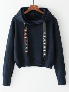 Diamanted Cords Hooded Cropped Sweater - Purplish Blue L