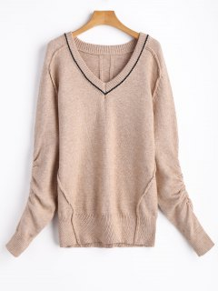 Ruched Sleeve V Neck Pullover Sweater - Light Khaki