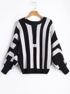 Batwing Striped Pullover Sweater - White And Black