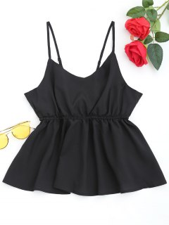 Slit Bowknot Cami Top - Black S