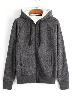 Zippered Fleeced Hooded - Gray S